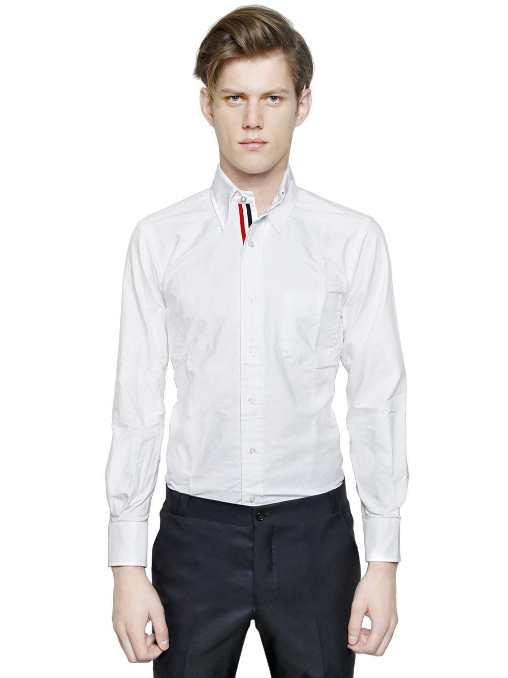 Thom browne cotton oxford shirt w grosgrain detail in for Thom browne white shirt
