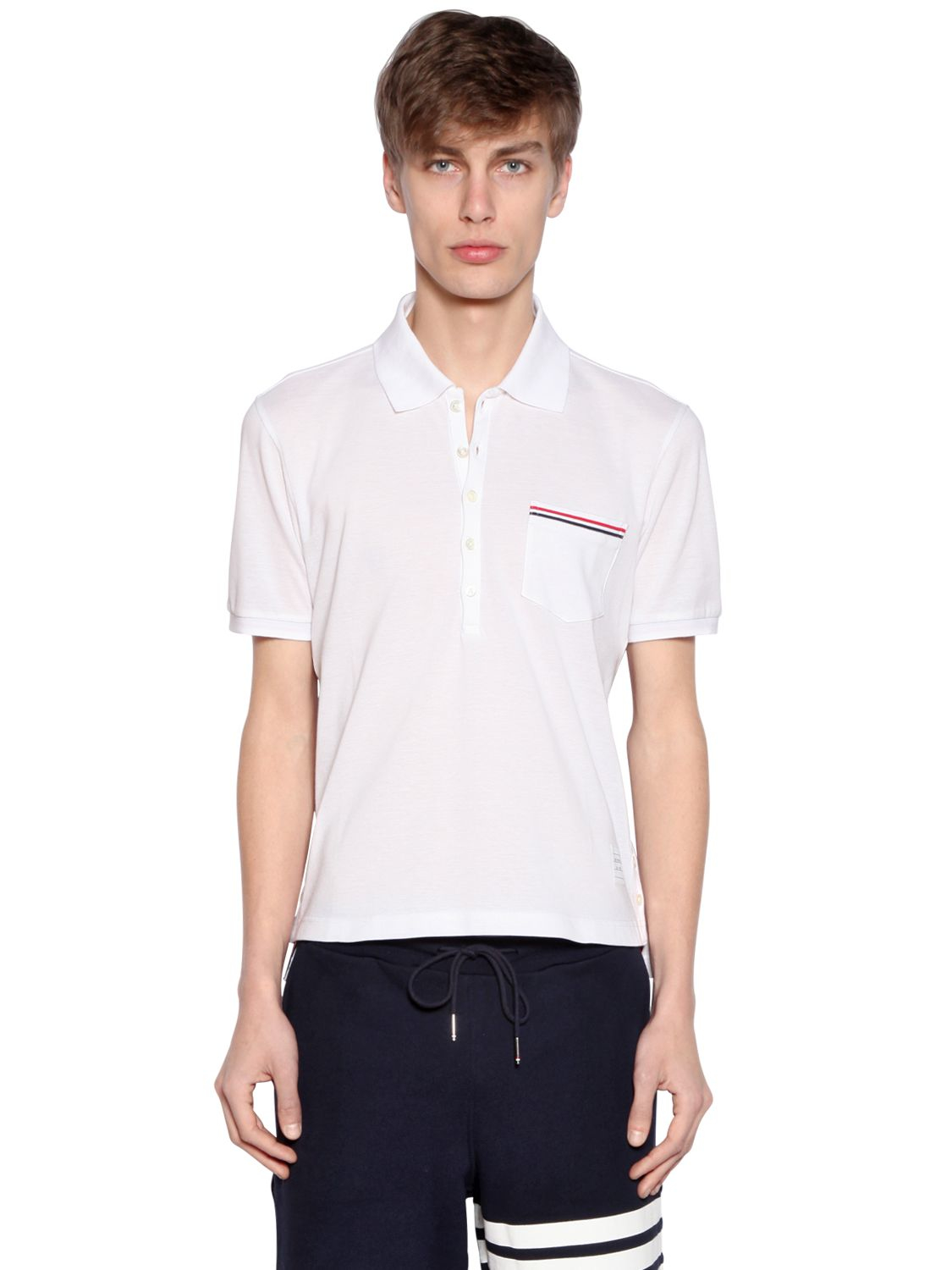 Lyst thom browne cotton piqu polo shirt with pocket in for Men s cotton polo shirts with pocket