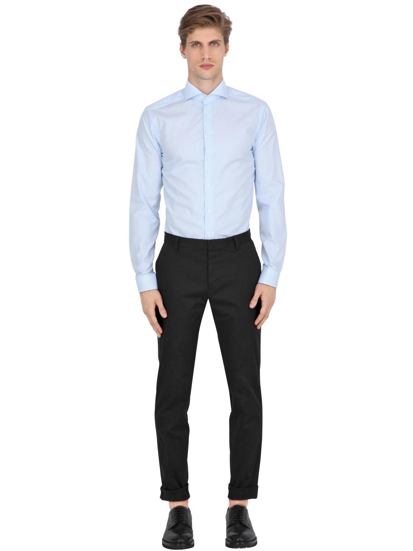 Eton Of Sweden Slim Fit Striped Cotton Poplin Shirt In