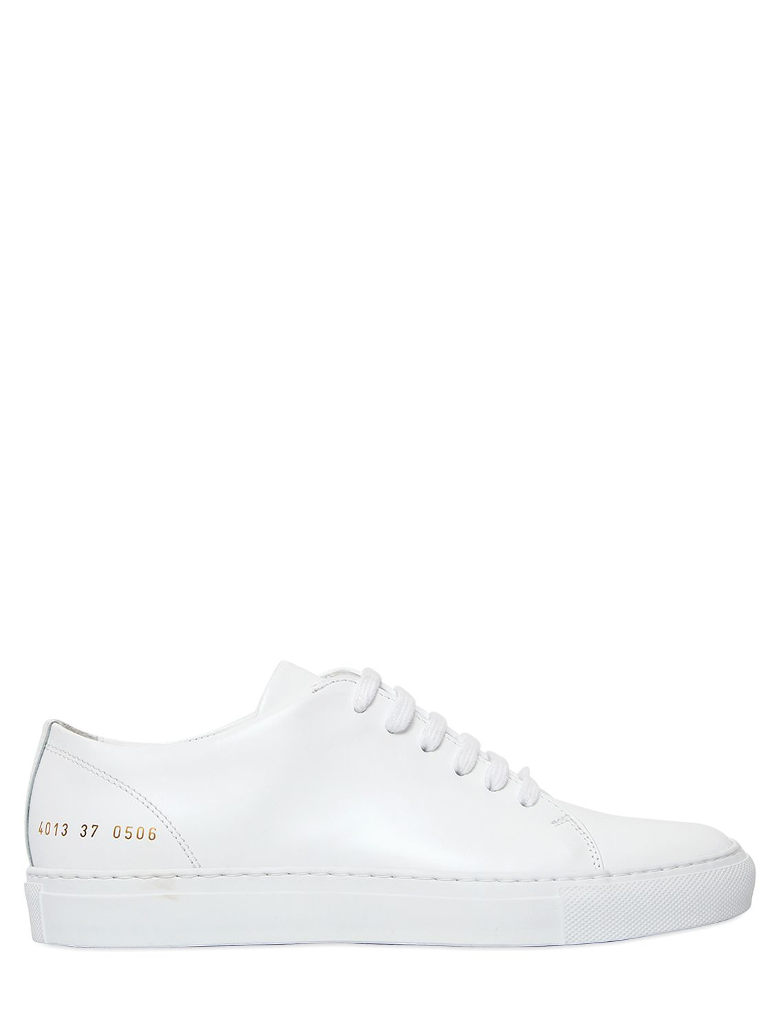 common projects court brushed leather sneakers in white lyst. Black Bedroom Furniture Sets. Home Design Ideas