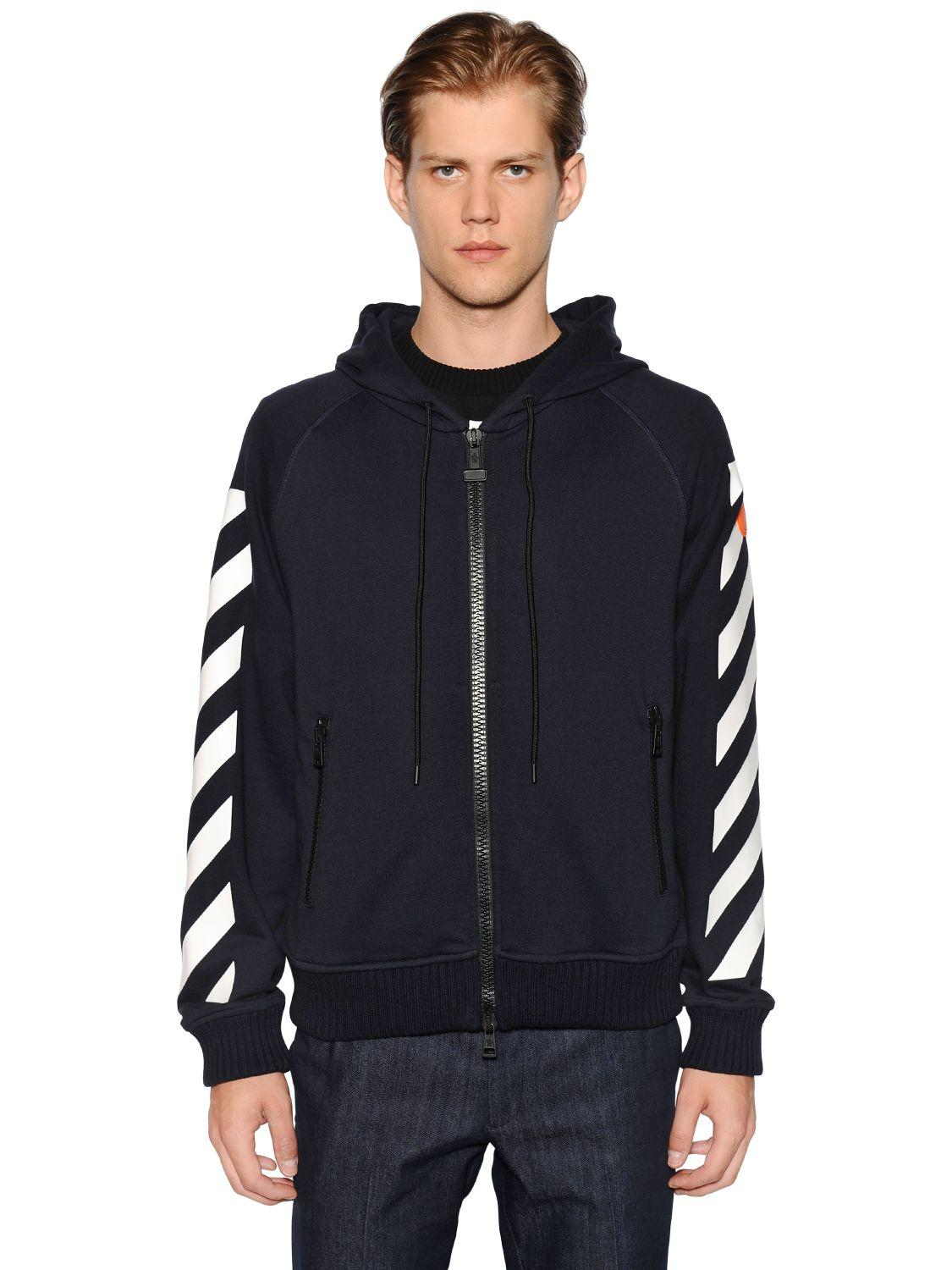 Moncler Rubber Off White Zip-up Hooded Sweatshirt in Black ...