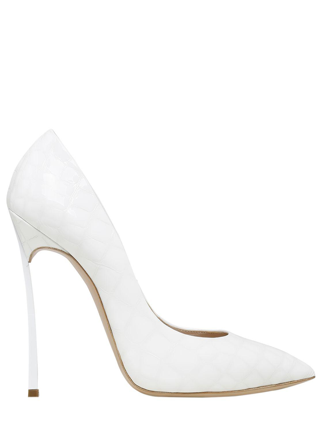 0931f7aea7 Lyst - Casadei 120mm Blade Croc Embossed Leather Pumps in White