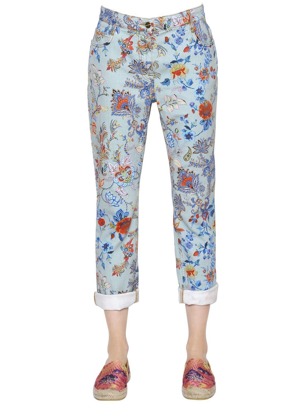 Etro Floral Printed Boyfriend Denim Jeans in Blue