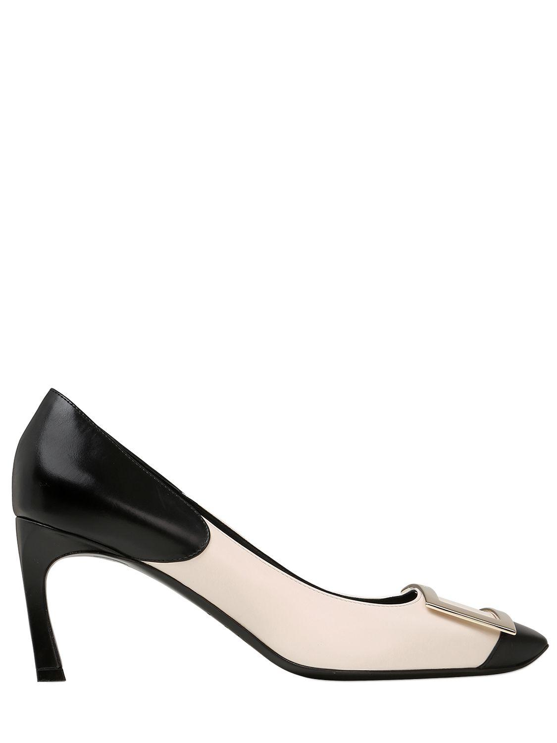 851bccdf2f10 Lyst - Roger Vivier 70mm Trompette Two Tone Leather Pumps in Black