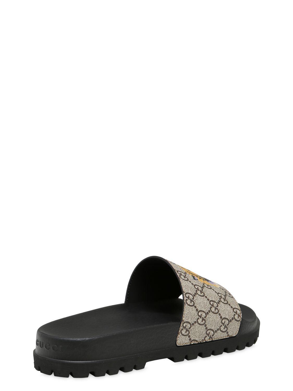 Gucci Tiger Print Gg Supreme Slide Sandal In Natural Lyst