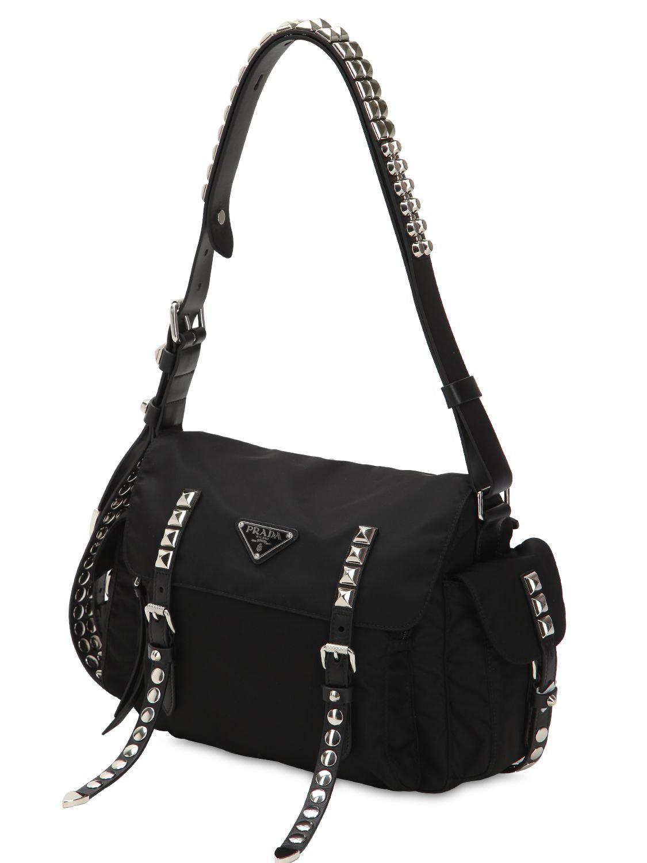 Prada - Black New Vela Nylon Bag W  Studs - Lyst. View fullscreen f30c1796bfa8c