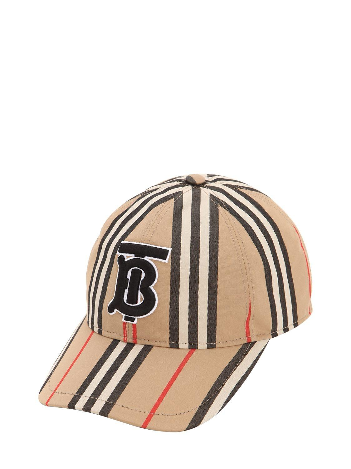 53fc4066b042a Lyst - Burberry Icon Striped Cotton Baseball Hat in Natural - Save 9%