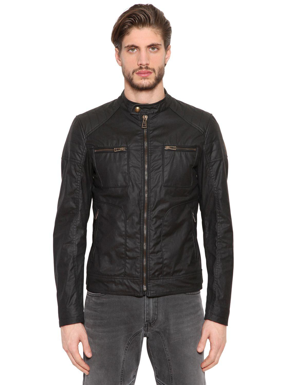 belstaff weybridge waxed cotton jacket in black for men lyst. Black Bedroom Furniture Sets. Home Design Ideas