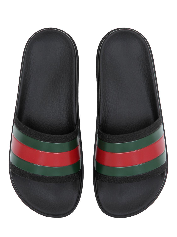1359968024ffc Lyst - Gucci Striped Web Rubber Slides in Black for Men - Save 20% Gucci  Guccissima Web Slide Sandals ...