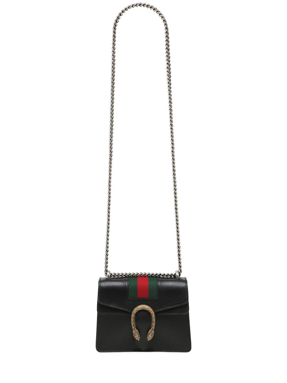 f0358b38b829 Gucci Mini Dionysus Leather Bag W/ Web Detail in Black - Lyst