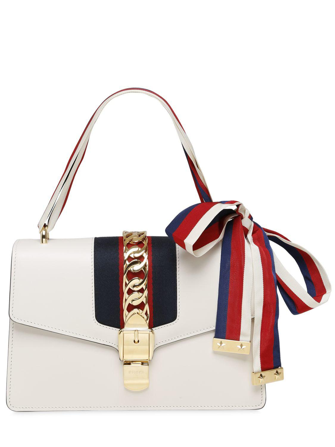 f40636113e6 Lyst - Gucci Small Sylvie Leather Shoulder Bag in White - Save 4%