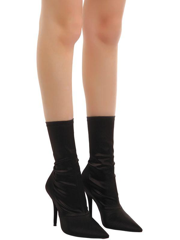 d71e8d863c0 Lyst - Yeezy 110mm Stretch Satin Sock Ankle Boots in Black