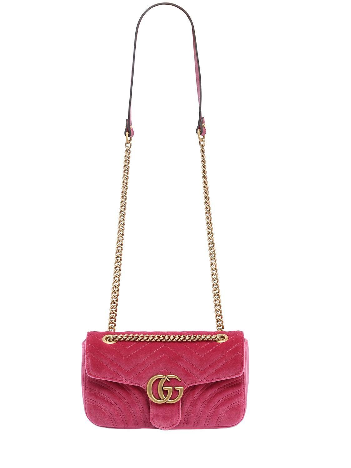 82ee477d8b5 Gucci Small Gg Marmont 2.0 Velvet Shoulder Bag in Pink - Save 21% - Lyst