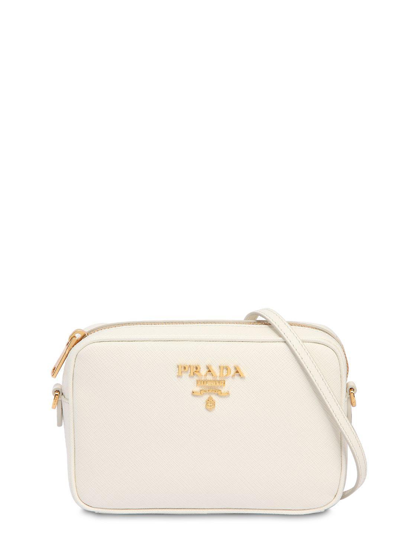 c68bcdb2a7c9 Prada Saffiano Leather Camera Bag in White - Lyst