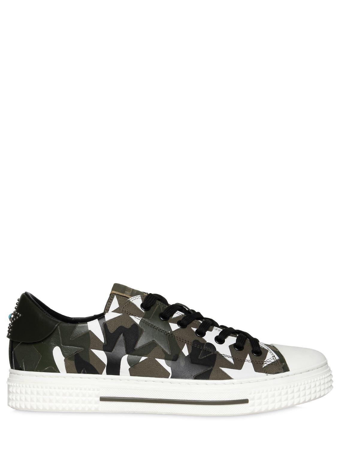 Valentino. Men's Black Camustars Leather & Canvas Sneakers