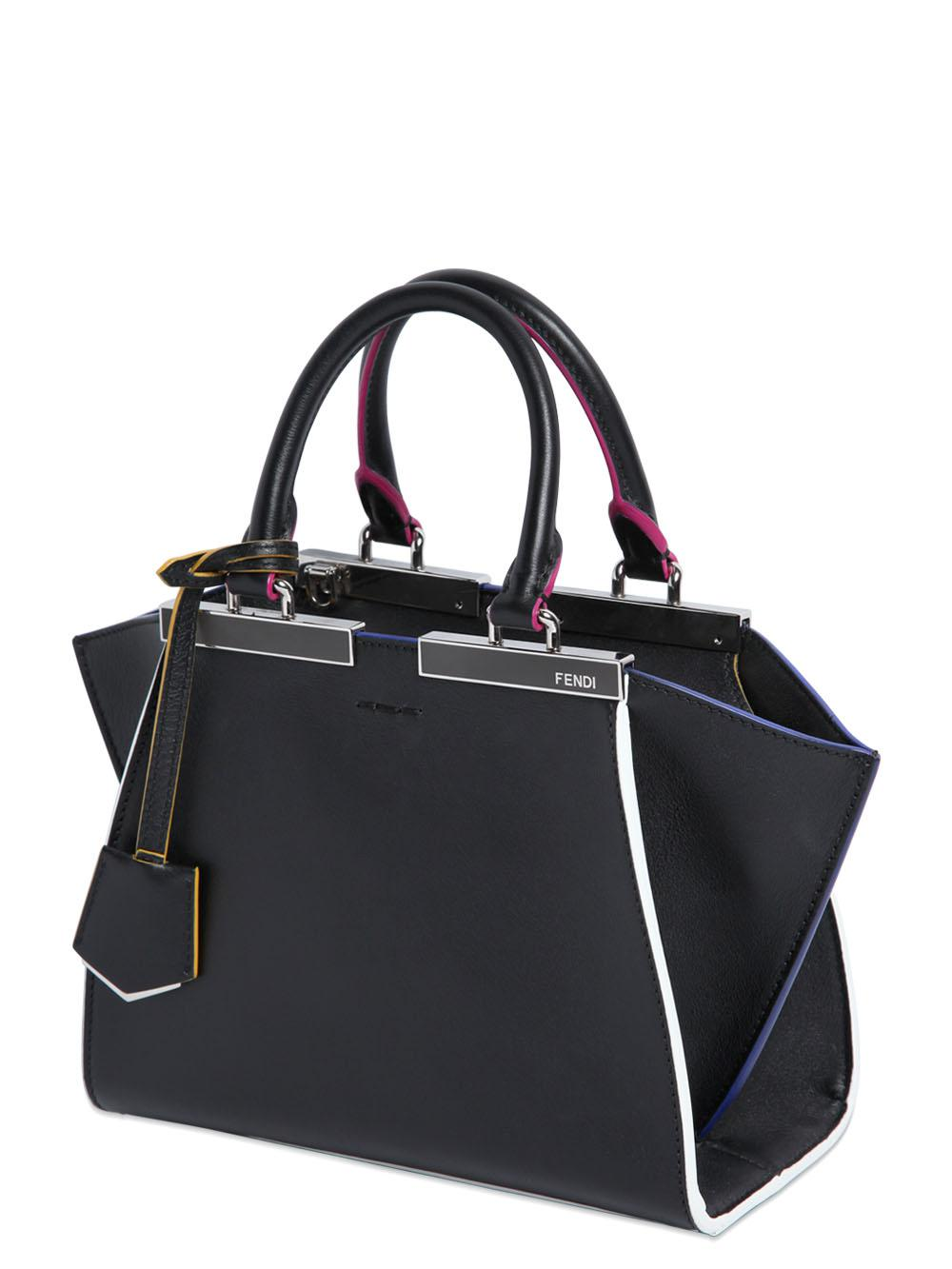 93880048373c Fendi Mini 3Jours Contrasting Edge Leather Bag in Black - Lyst