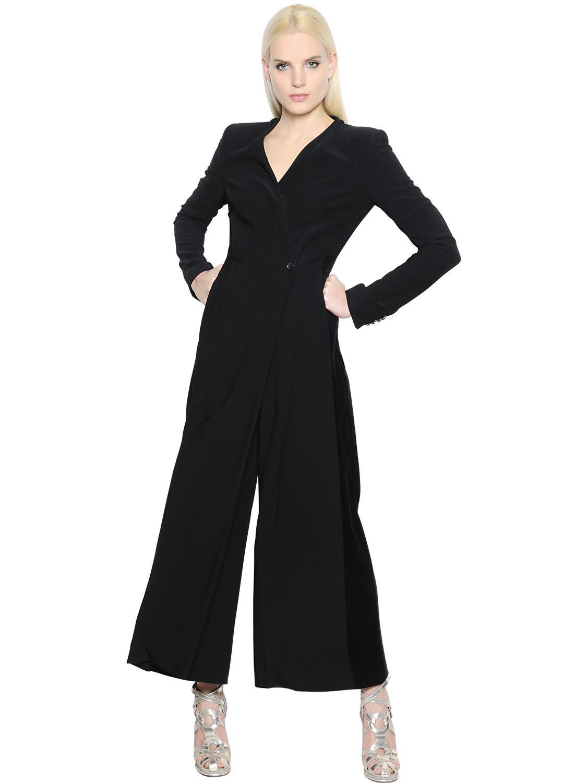 6e1d0e0fa065 Antonio Berardi Wrapped Stretch Cady   Velvet Jumpsuit in Black - Lyst