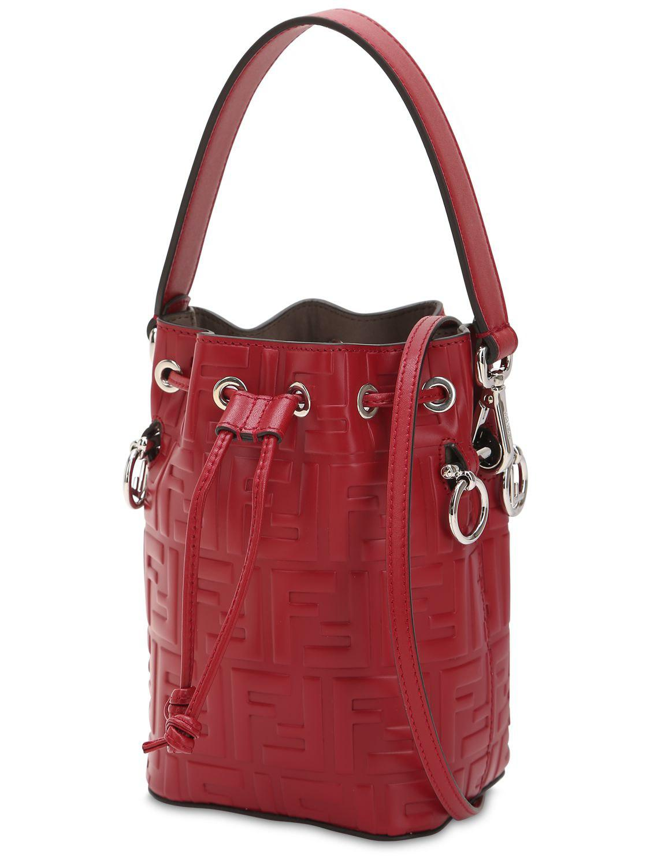 fca18719df6f Fendi - Red Logo Embossed Leather Shoulder Bag - Lyst. View fullscreen