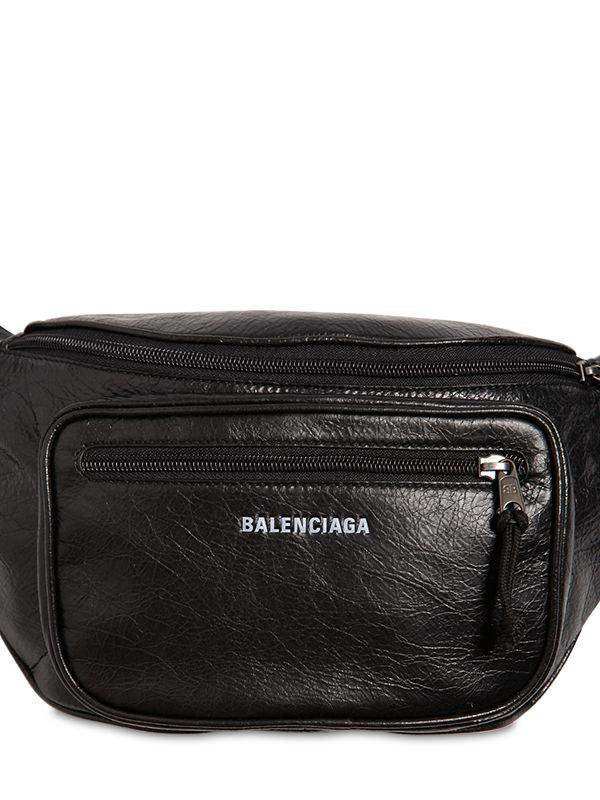 5d8fc7600a97 Lyst - Balenciaga Logo Detail Leather Belt Bag in Black for Men