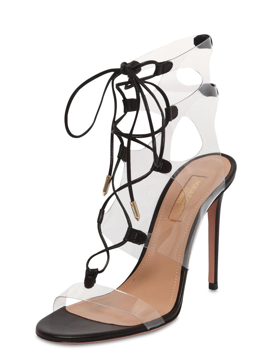 d0385ac5aa6 Lyst - Aquazzura 105mm Milos Leather   Plexi Sandals in Black