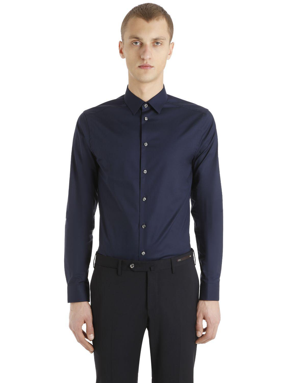 Eton Of Sweden Super Slim Fit Cotton Poplin Shirt In Blue