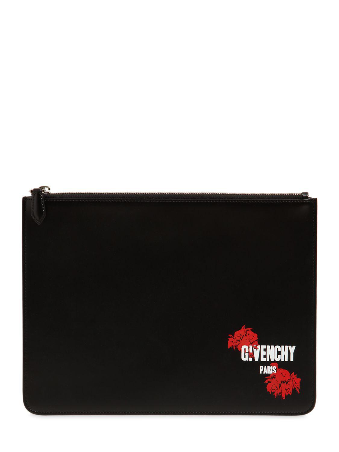 Givenchy LARGE RED FLOWERS GIVENCHY LEATHER POUCH pKQXzkKrp6