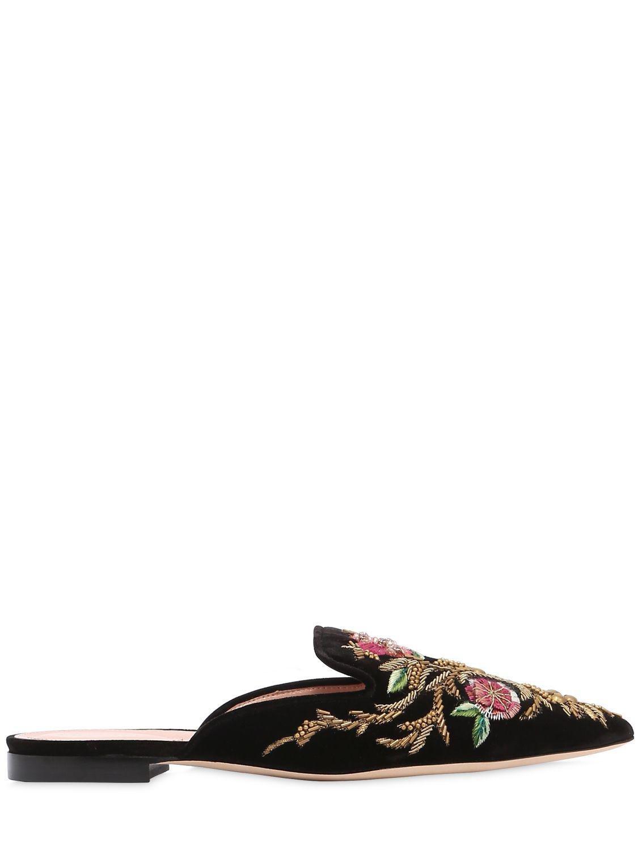 Alberta Ferretti. Women's 10mm Embroidered & Beaded Velvet Mules