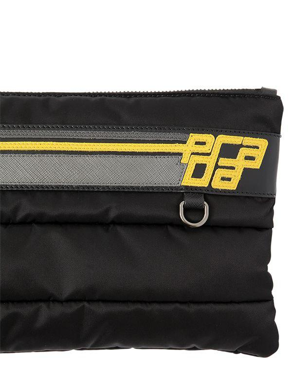 cbc61dd0553 Lyst - Prada Logo Patch Quilted Nylon   Leather Pouch in Black for Men
