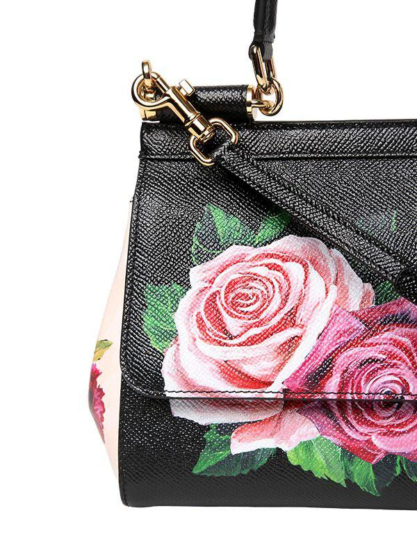 cfc2aa29f49f Lyst - Dolce   Gabbana Small Sicily Floral Printed Leather Bag in Black