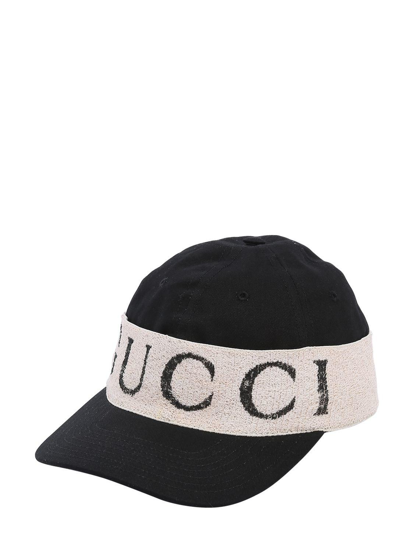 6ace3964710 Gucci - Black Logo Band Cotton Gabardine Baseball Hat for Men - Lyst. View  fullscreen