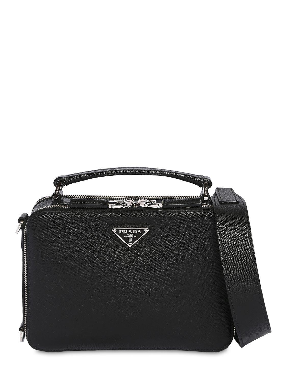 8f7f5a7c8bc7bf Prada - Black Saffiano Leather Travel Bag for Men - Lyst. View fullscreen