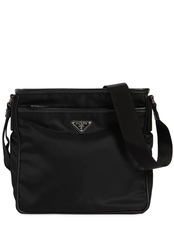 506860ad8e92 Prada - Black Nylon Crossbody Bag W  Leather Trim for Men - Lyst. View  fullscreen