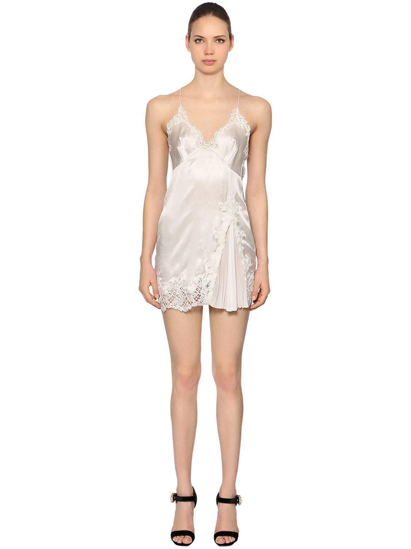 1aa401beb83f3 Ermanno Scervino Silk Satin   Macramé Babydoll Dress in White - Lyst