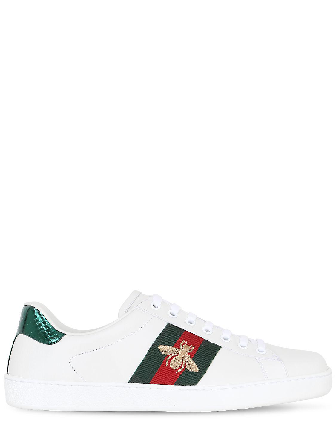 GucciNEW ACE BEE WEB LEATHER SNEAKERS W/ AYER EQyPvsQC