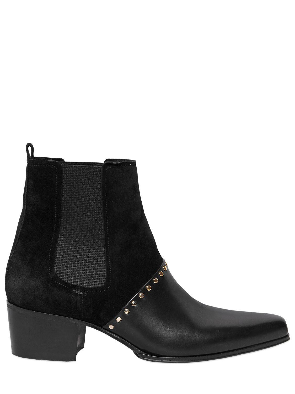 cheapest price cheap online websites online Suede Insert Leather Short Boots - Black 40 nicekicks online discount for cheap 5XWs7OCsg