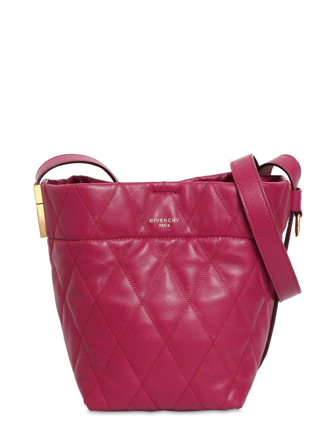 30321d6b4482 Givenchy Mini Gv Quilted Leather Bucket Bag in Purple - Lyst