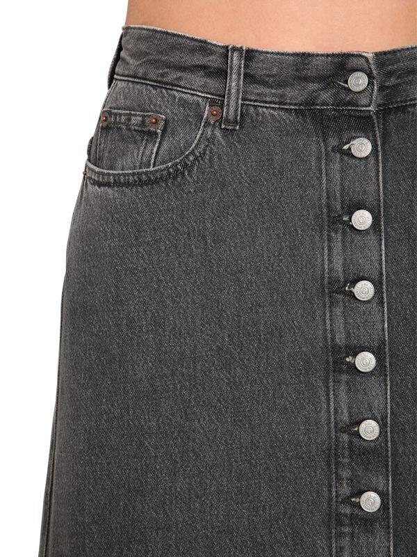 f3b52a4f2 MM6 by Maison Martin Margiela Long Button Down Cotton Denim Skirt in Gray -  Lyst