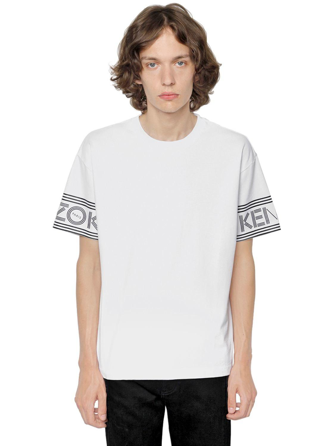 c2c4ae1d2 KENZO Logo Printed Cotton Jersey T-shirt in White for Men - Lyst