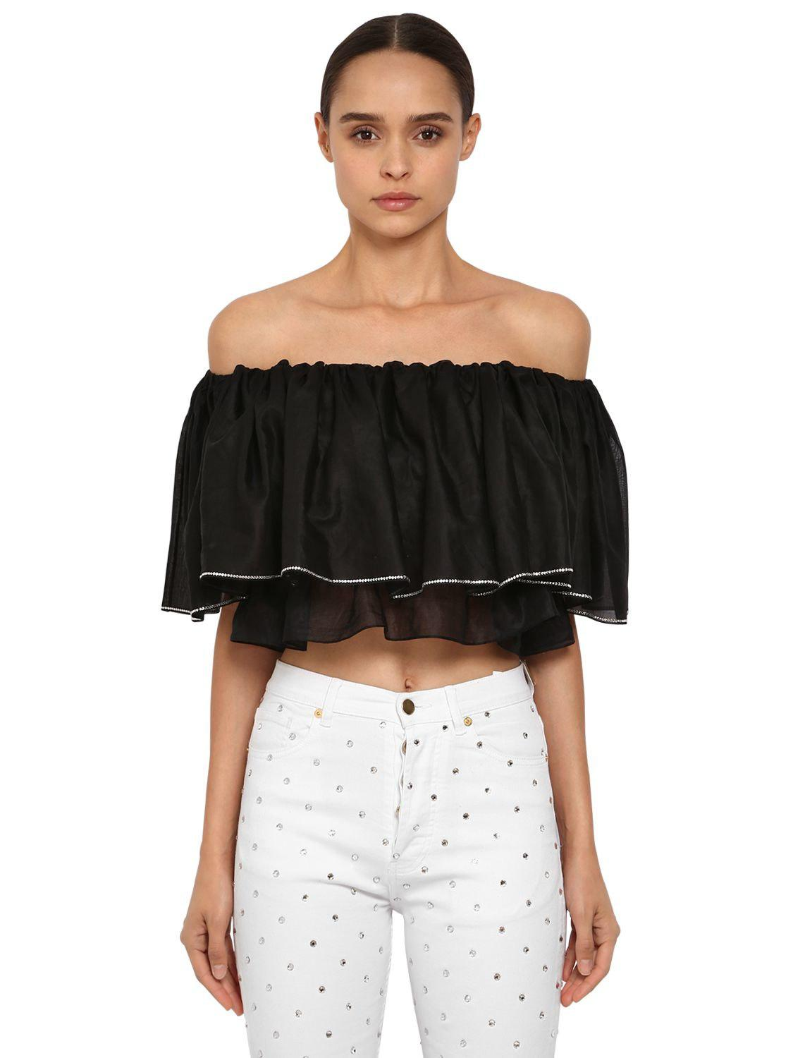 abc2b8395f575 Lyst - Alexandre Vauthier Crystal Off The Shoulder Cotton Top in Black
