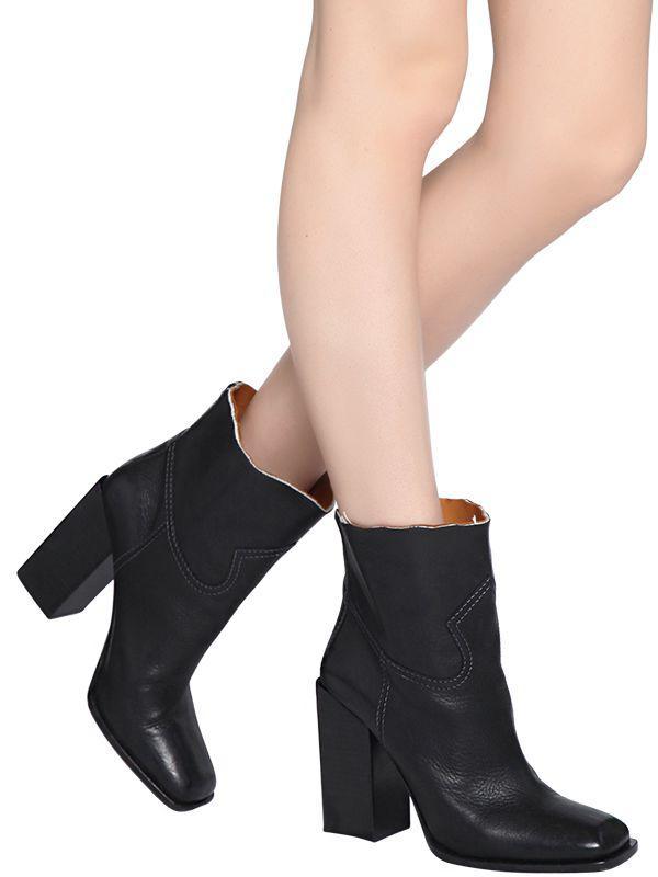 Saint Laurent Raw-Edge Leather Block-Heel Boot BR8YE
