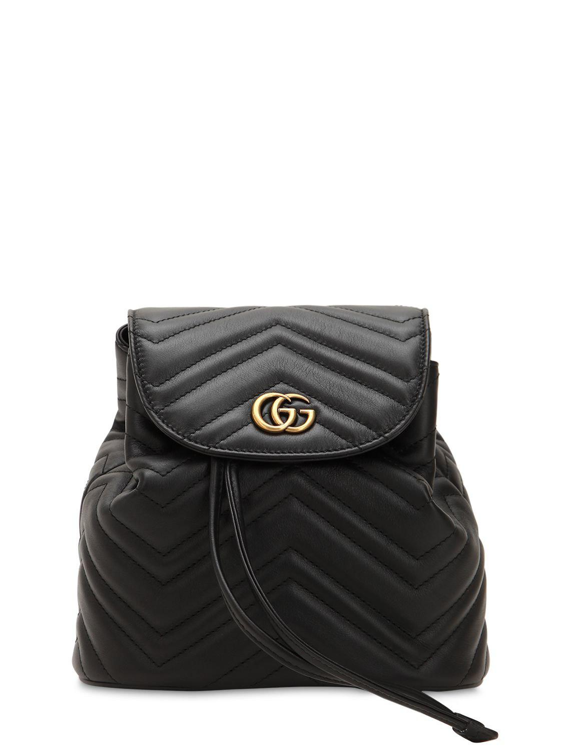 802887a2aae5e6 Lyst - Gucci Mini Gg Marmont Leather Backpack in Black - Save 25%