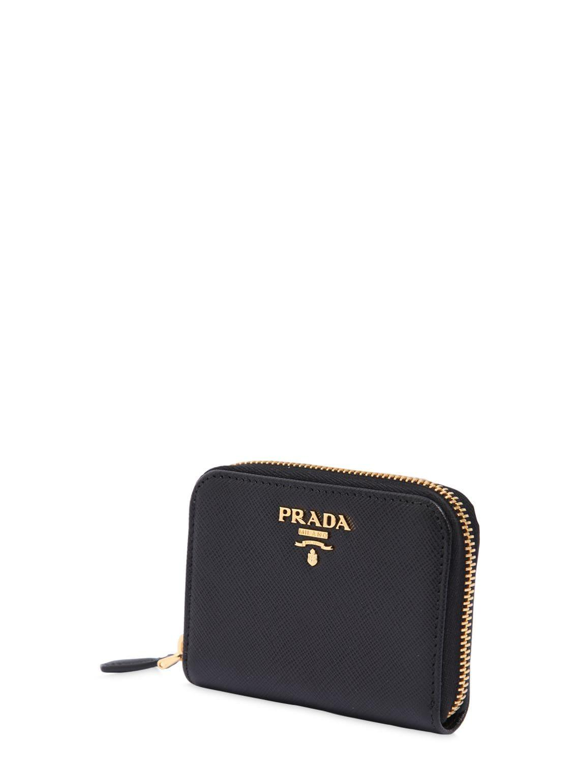 47241bf3be279b Prada Minuteria Leather Coin Case in Black - Save 8% - Lyst