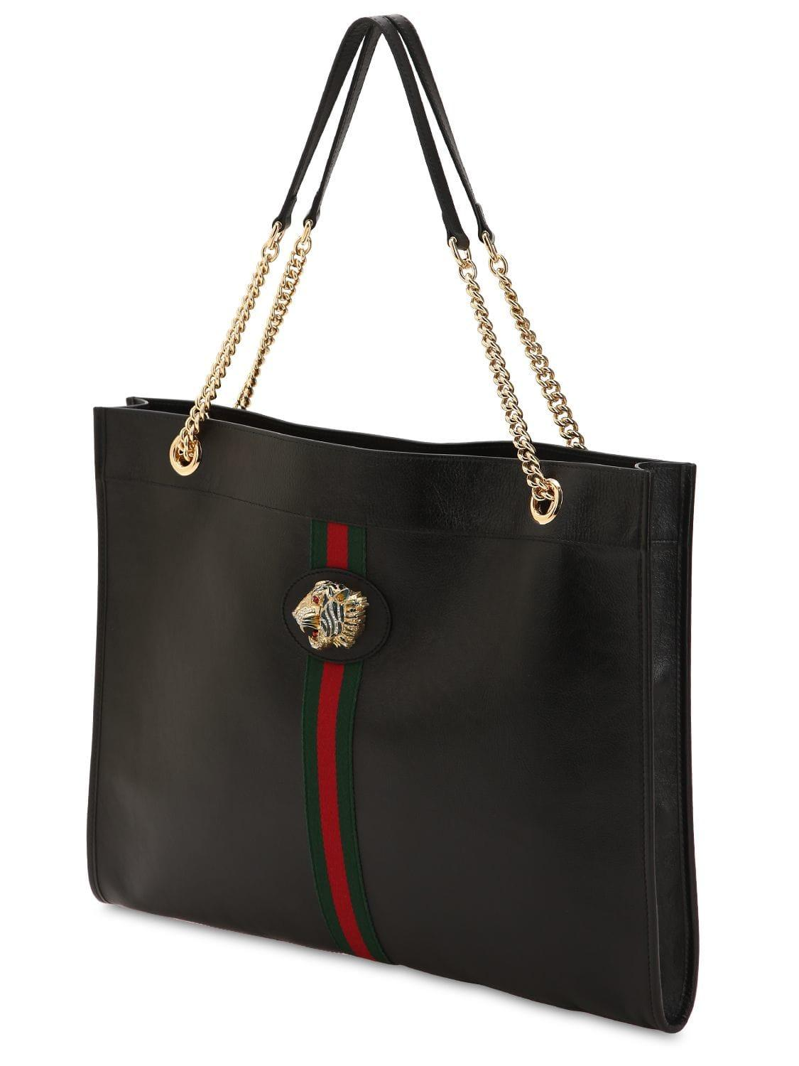 4bacef4978067 Gucci Large Rajah Leather Tote Bag in Black - Lyst