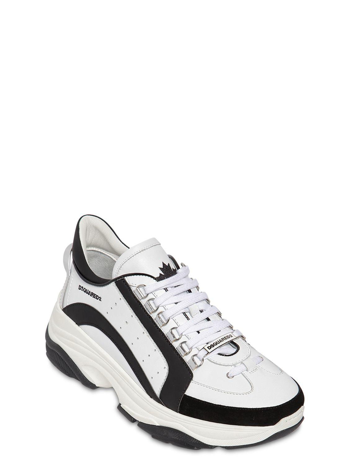 7e2f53cb0d5 Dsquared² 551 Bumpy Leather & Suede Sneakers in White for Men - Lyst