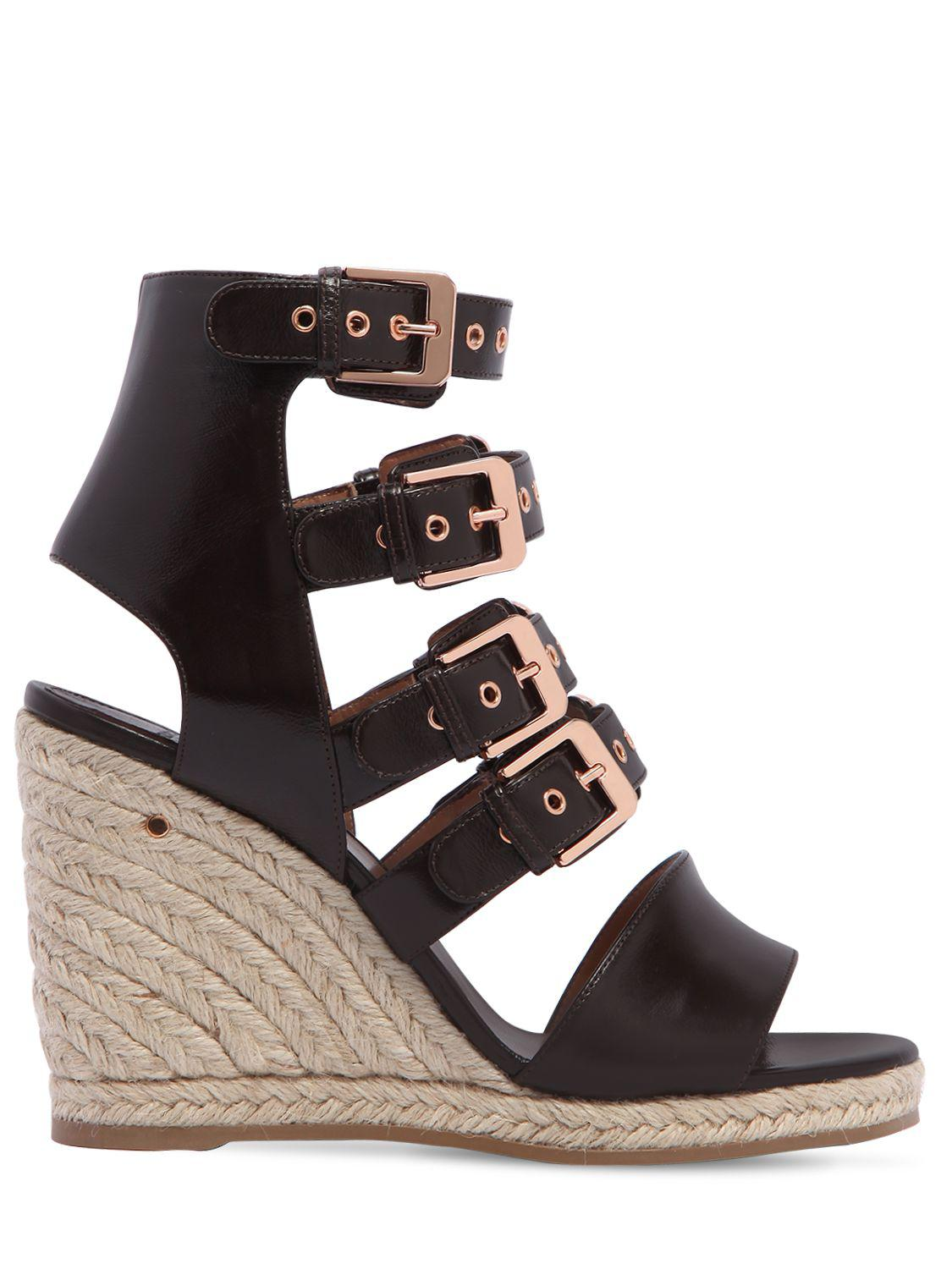 LAURENCE DACADE 90MM ROSARIO MULTI BUCKLE LEATHER WEDGES sAfog