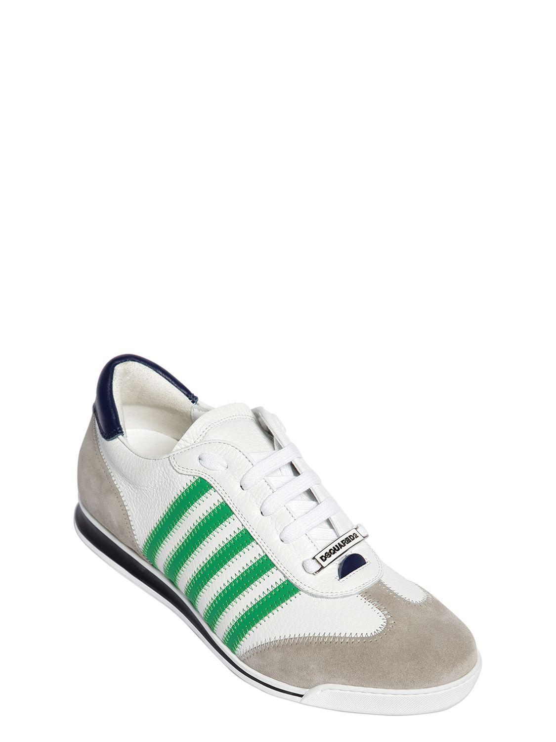 5e9add9273b Lyst - DSquared² New Runner Leather   Suede Sneakers in Green for Men