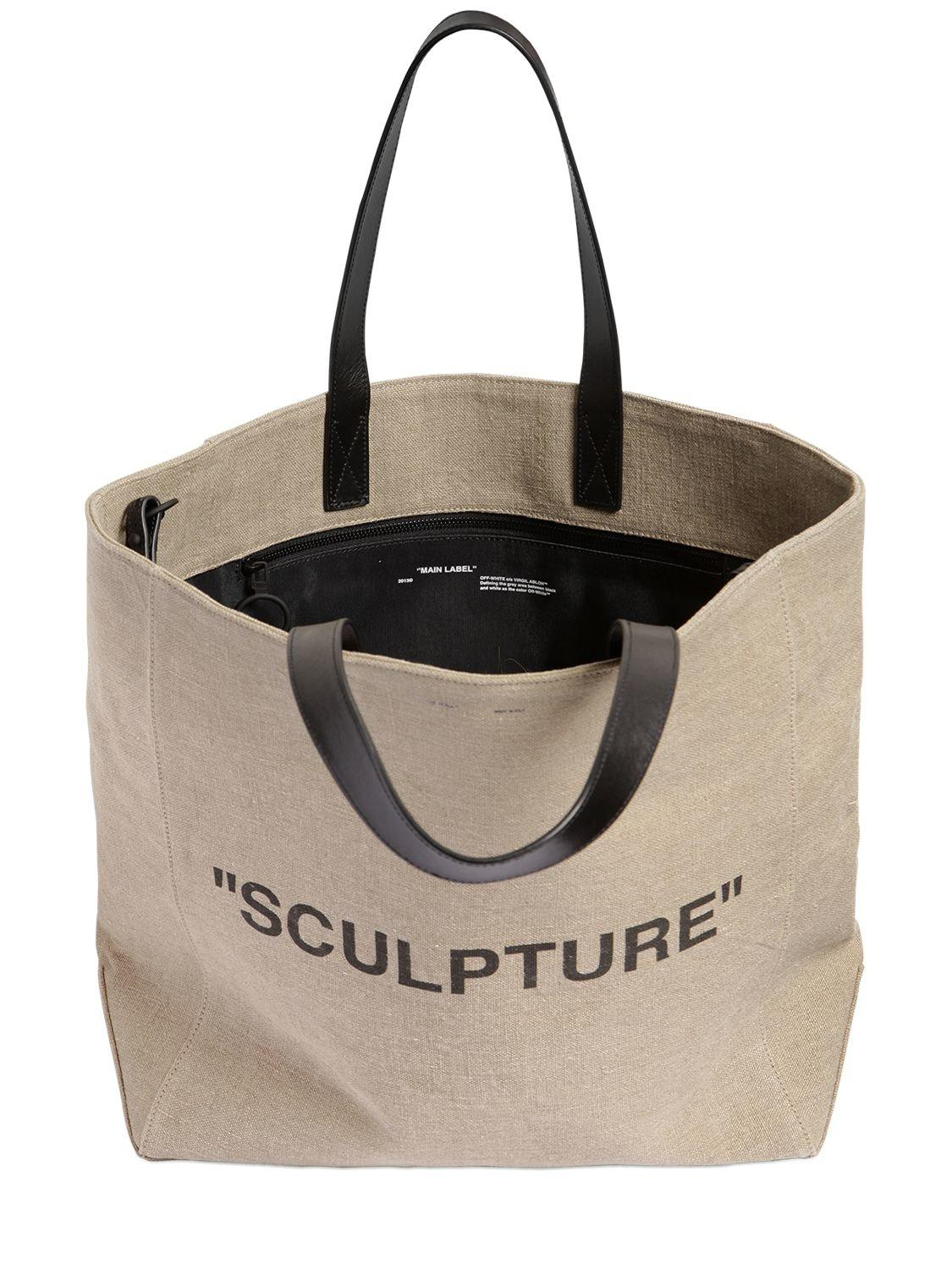 Off-white LARGE SCULPTURE PRINTED JUTE TOTE BAG lormWN8