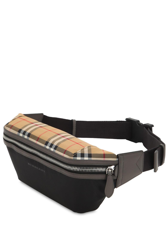 aa08d887507b Lyst - Burberry Checked Nylon Belt Bag in Black for Men