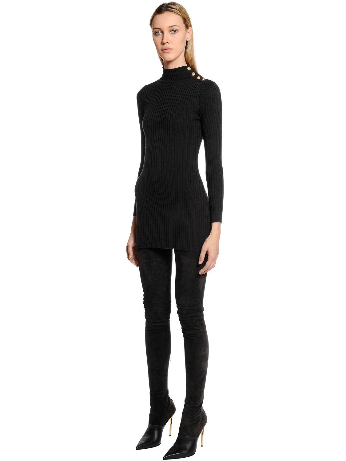 d63ad4f540e1 Balmain Turtleneck Sweater Dress W  Gold Buttons in Black - Lyst