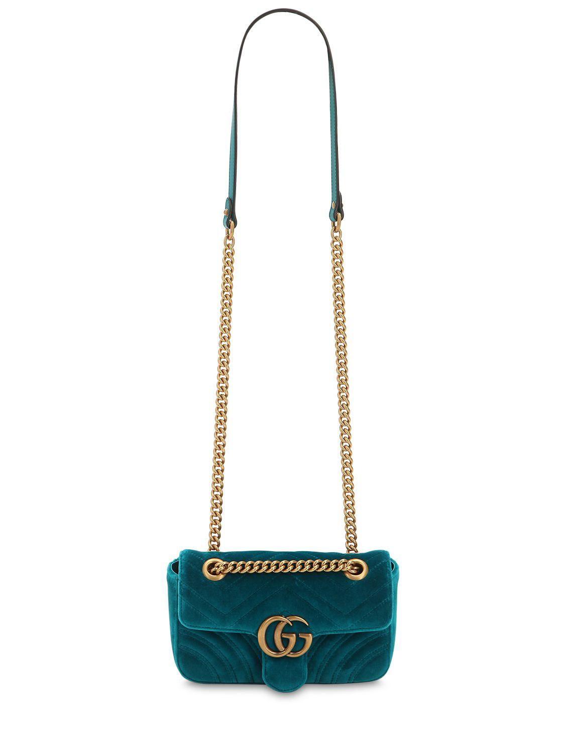 fa8e29f2c09810 Gucci Mini Gg Marmont 2.0 Velvet Shoulder Bag - Lyst